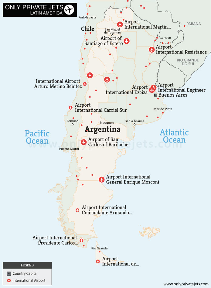 Argentina private jet airports map