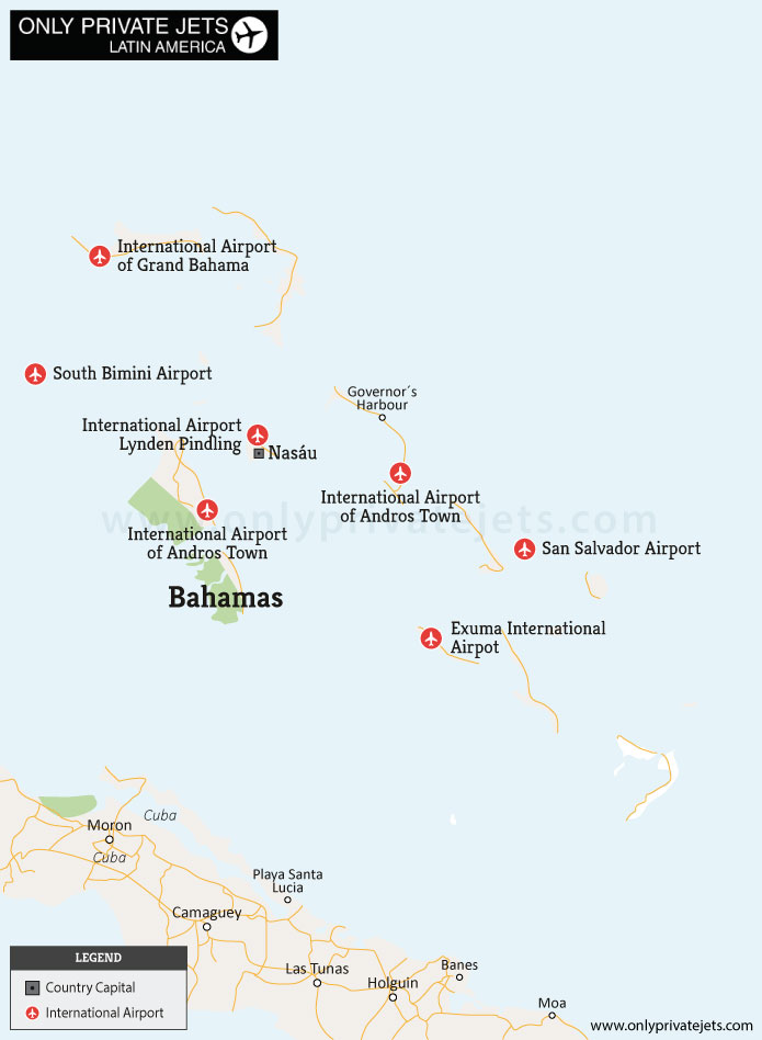 Bahamas private jet airports map