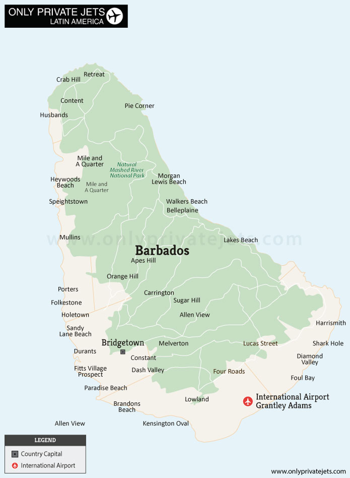 Barbados private jet airports map