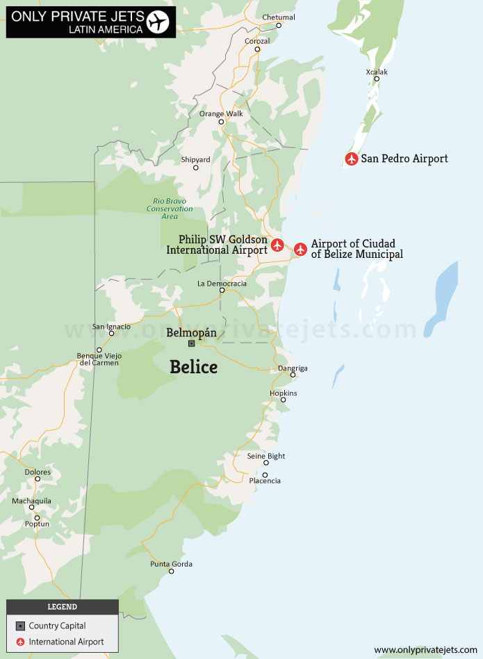 Belice private jet airports map