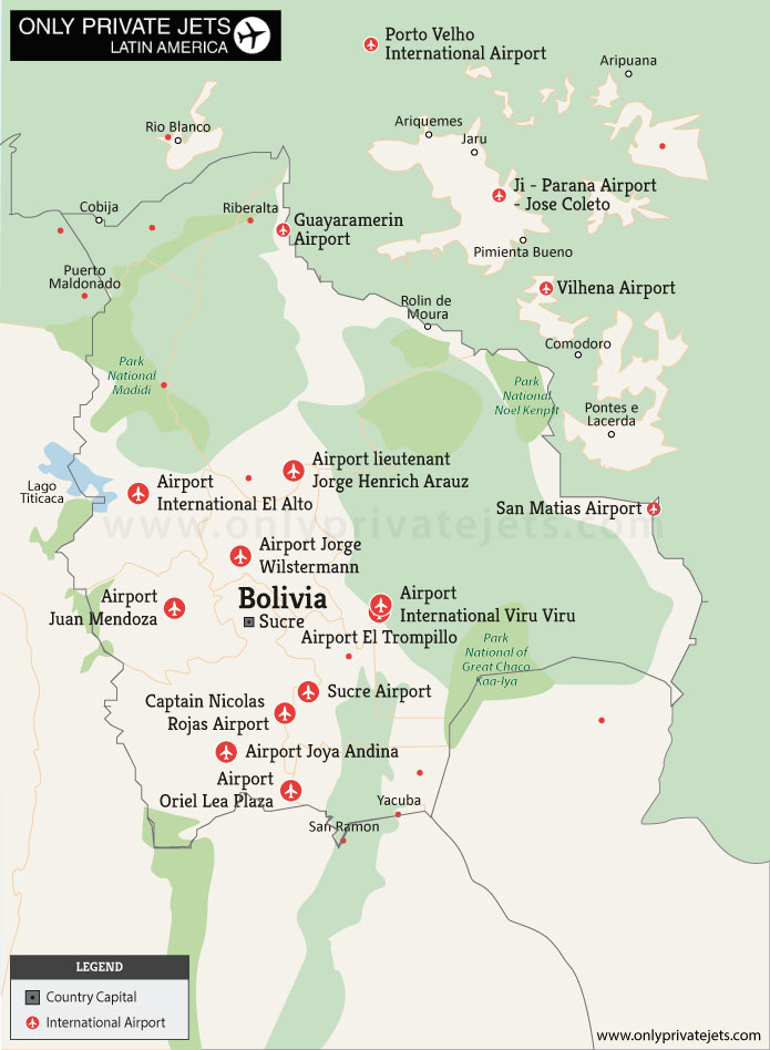 Bolivia private jet airports map