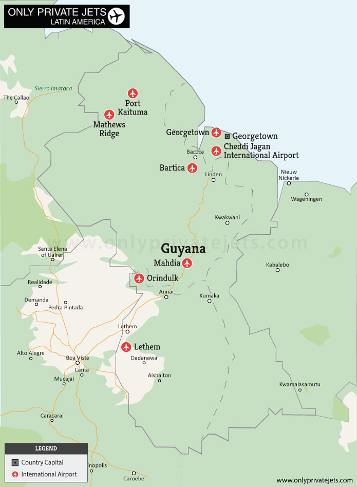 Guyana private jet airports map