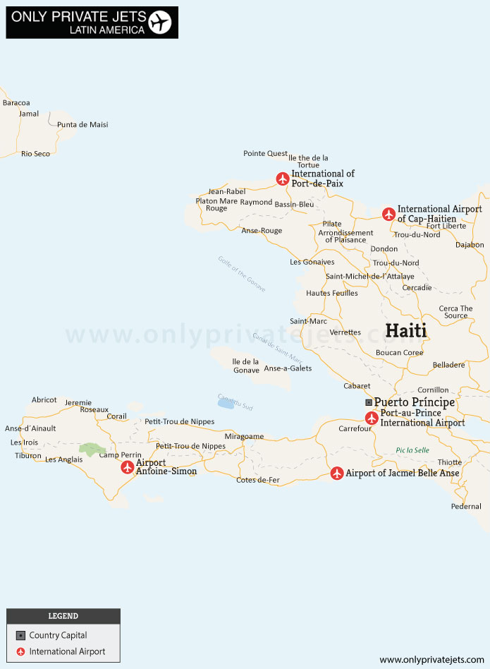 Haiti private jet airports map