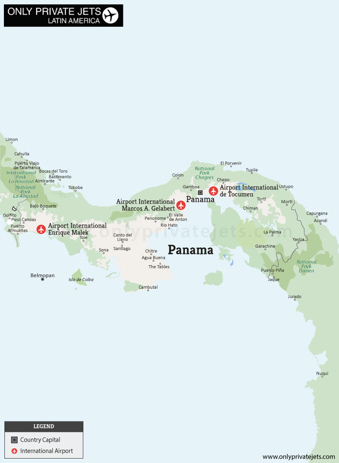 Panama private jet airports map