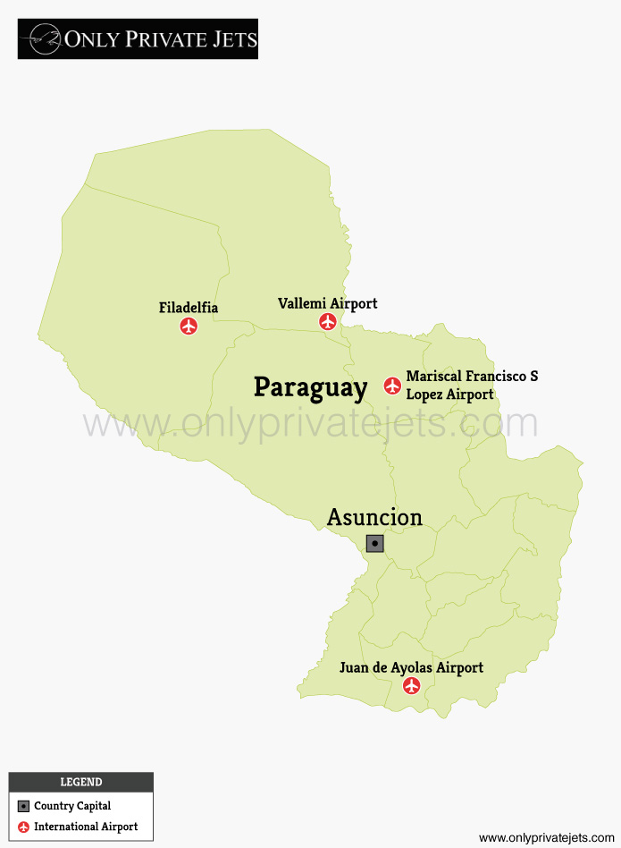 Paraguay private jet airports map