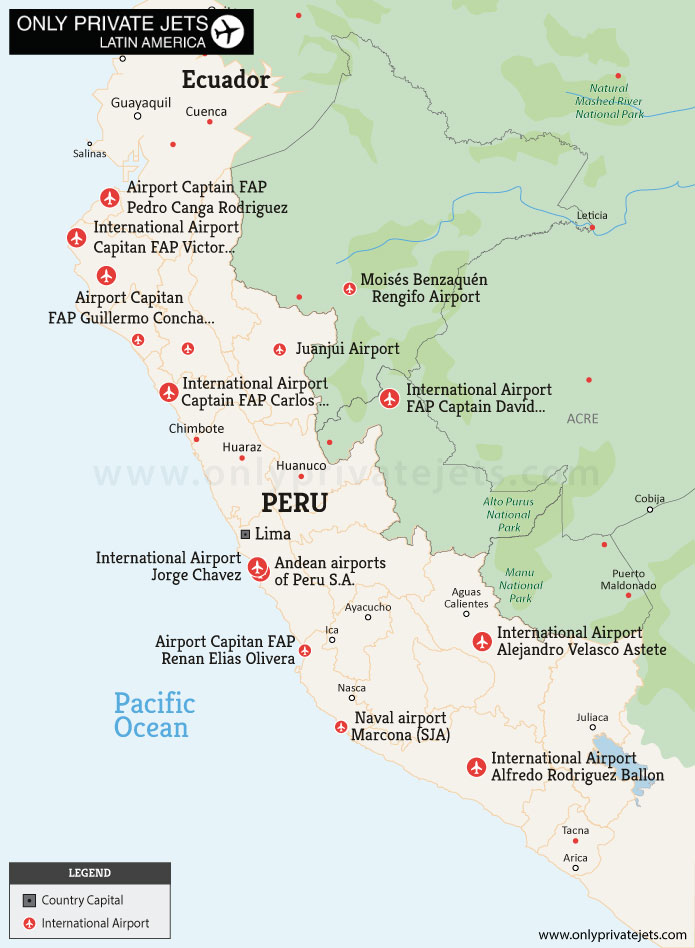 Peru private jet airports map