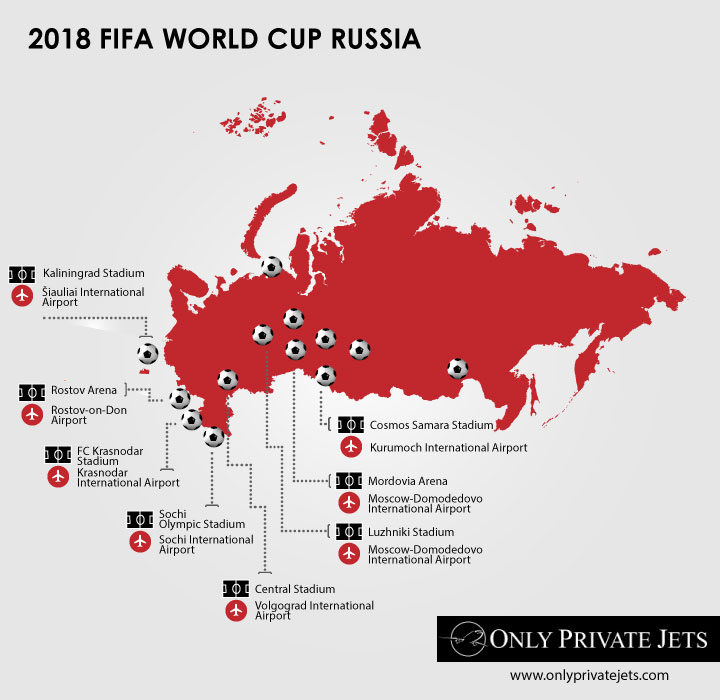 Russia 2018 FIFA World Cup by Private Jet map